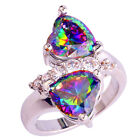 Alluring Women Jewelry Rainbow Topaz Heart Shaped Lovers Gift Gems Silver Ring