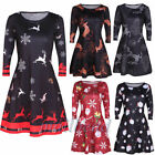 Women's Long Sleeve Santa Snowman Christmas Party Swing Flared Dress Fashion