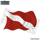 Dive Waving Flag Decal Scuba Diving Diver Rescue Gloss Sticker (RH) HGV