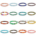 "8mm Grade A Gemstone Semi Precious Round Beads Stretch Bracelet 7"" Unisex"