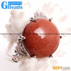 Natural 20mm Coin Round Gemstone Fashion Jewelry Silver Plated Finger Ring