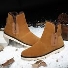Men's Winter Ankle Boots Slip On Zip Casual High Top Thicken Warm Snow Shoes