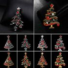 Wholesale 4/8/Pcs Silver/Gold Crystal Christmas Tree Brooch Pins Woman Jewelry