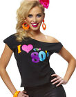I Love The 80's Shirt Retro New Wave Womens Fancy Dress Halloween Costume S-L