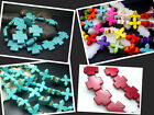 15mm 20MM  Multi-Color / Blue Howlite Turquoise Cross Spacer Beads Jewelry 16""