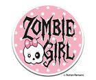 Cute Zombie Girl Decal Polka Dots Pink Bow Skull Gloss Sticker HGV
