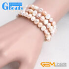 6-8mm Freshwater Pearl Strand Linking Bracelet Adjustables XMAS Fashion Jewelry