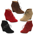 Beston DE06 Women's Lace Up Wrapped Heel Ankle Wedge Booties Run One Size Small