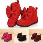 Newborn Kids Baby Girls Bowknot Snow Shoes Winter Warm Ankle Boot US Size 6.5-11