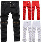 New Mens Ripped Straight Slim Fit Biker Denim Jeans Trousers Casual Skinny Pants
