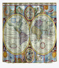 """72""""/79""""Bathroom Waterproof Polyester Fabric Shower Curtain 12Hooks-The World Map"""