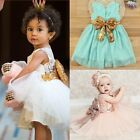 Fashion Girl Princess Flower Sequins Dress Toddler Baby Wedding Party Tutu Dress