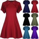 Womens Ladies Peplum Ruffle Frill Sleeve Side Pockets Flared Swing Mini Dress