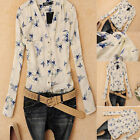 Womens Summer Chiffon Bird Print Tops Casual Long Sleeve T Shirt Blouse LOT