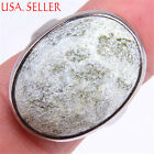Handmade Genuine 925 Sterling Silver WIDE Green Chalcedony Gemstone Ring U1076