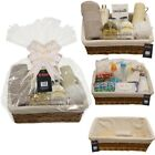 2 X MAKE YOUR OWN HAMPER WICKER BASKET CELLOPHANE & BOW XMAS GIFT SET FOOD KIT