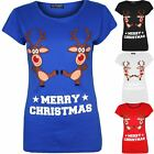 Womens Christmas T Shirt Ladies 2 Dancing Reindeer Novelty Cap Sleeve Xmas Top