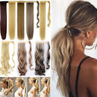 Real Clip in Hair Extension As Human Pony Tail Wrap Around on Ponytail Brown FA2