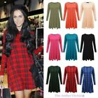 WOMENS LADIES LONG SLEEVE TARTAN LOOSE FIT TOP STRETCH CASUAL SWING SKATER DRESS