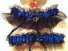 Royal & Black Wedding Keepsake Garter or Set - Plus Size Also - Prom Garter