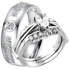 3 PC 925 Sterling Silver Marquise Cut CZ Wedding Ring Set & Stainless Steel Band
