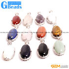"""Natural 17x45mm Oval Gemstone Pendant Leather Rope Necklace Free Shipping 18"""""""