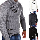 Warm Mens' Fashion Long Sleeve Collar Striped Sweater Chunky Knitting Pullovers