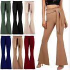 Womens Ladies High Waisted Paper Bag Flared Bell Bottom Palazzo Belted Trousers