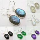 925 Sterling Silver Real Gemstone BIG DANGLE Earrings ! Affordable NEW Jewelry