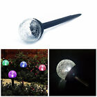 3 PCS Crackle Glass Ball Solar Powered LED Lamp Light For Garden Path Yard Lawn