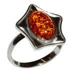 2.9g Authentic Baltic Amber 925 Sterling Silver Ring Jewelry N-A7128