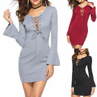 Business Women Lace up Dress Deep V-neck Flared Sleeve Slim Cocktail Dress