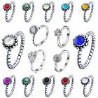 Hot Brand Colorful Stones Woman Rings Wedding Engagement 925 Silver Jewelry Gift
