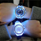 Hot Unisex Couples LED Light Up Silicone Band Stainless Steel Watch Wristwatch