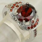Size 6 7 8 9 Beautiful Fire Red Oval Garnet Gems Jewelry Gold Filled Ring K1900