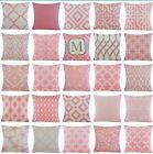 Pink Geometric Decorative Sofa Couch Bed Throw Pillow Cover Cushion Case 18x18""