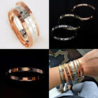 Love Forever Screw Embossed Bracelet Rose Gold Bangle with Crystal Cuff Jewelry
