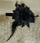 LARGE FLOWER & FEATHER ON HAIRBAND/WEDDING/HAIR ACCESSSORY/BRIDE/BLK/CRM/GY