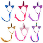 unicorn with cat - Unicorn Cat Ears Hair Hoop with Braided Wigs Hairband Headwear For Kids/Children