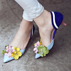Womens pointed toe floral shoes stilettos high heel slip on loafers pumps sweet