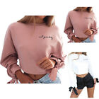 Women Long Sleeve Cotton Hoodie Jumper Casual Crop Top Sports Pullover S-XL 2018
