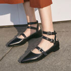Womens Leather Buckle Blet Strappy Flat Heels Pointy Toe Loafters Black Shoes