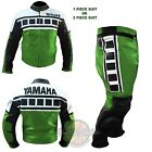 REAL LEATHER RIDER SUIT. Yamaha 6728 Green Biker Racing Jacket Motorbike Trouser