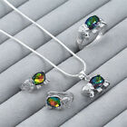 925 Silver Crystal Zircon Earring+Ring+Necklace Chian Pendant Statement Jewelry