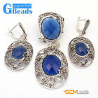 Blue Rhinestone Rivet Beads Flower Earrings Pendant Ring Jewelry Sets + Gift Box
