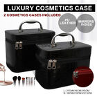 Leather Portable Cosmetics Makeup Make Up Jewellery Carry Case Box Bag Black Red