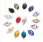 30Pcs Mixed colors Crystal Glass Stone Rectangle Oval Round Teardrop connectors