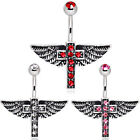 Winged Crystal Gem Cross Belly Navel Bar - 10mm - Body Jewellery