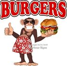 Burgers DECAL (Choose Your Size) Monkey Concession Food Truck Vinyl Sticker