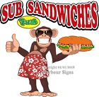 Sub Sandwiches DECAL (Choose Your Size) Monkey Concession Food Truck Sticker